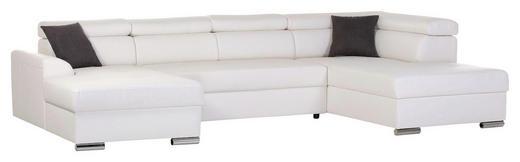 WOHNLANDSCHAFT Creme Lederlook - Chromfarben/Dunkelgrau, Design, Textil/Metall (170/327/200cm) - Carryhome