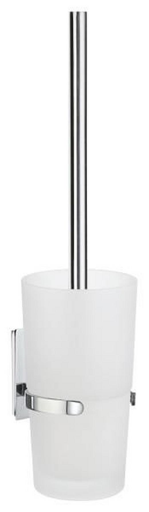WC-BÜRSTENGARNITUR Glas - Chromfarben/Weiß, Basics, Glas/Kunststoff (9,6/38/11,5cm)