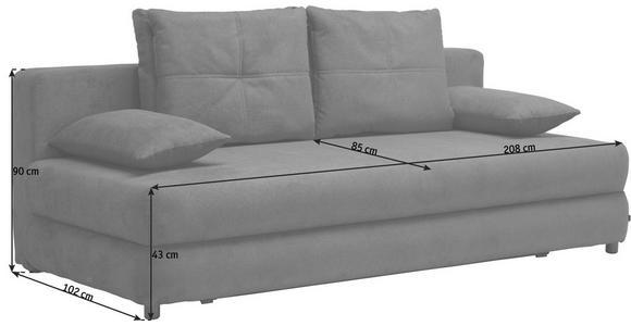 SCHLAFSOFA in Textil Hellgrau  - Hellgrau/Schwarz, Design, Kunststoff/Textil (208/73-90/102cm) - Hom`in