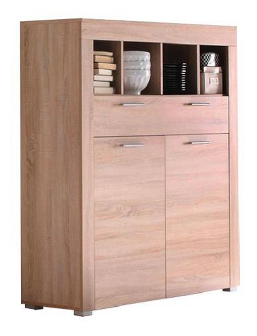HIGHBOARD sägerau Eichefarben - Eichefarben/Alufarben, Design, Holzwerkstoff/Kunststoff (120/137/40cm) - Carryhome