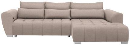 WOHNLANDSCHAFT in Textil Beige  - Beige/Silberfarben, MODERN, Kunststoff/Textil (304/218cm) - Carryhome