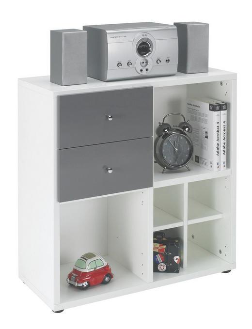 REGALKOMBINATION Grau, Weiß - Chromfarben/Schwarz, Design, Kunststoff/Metall (73/74/33cm) - Welnova
