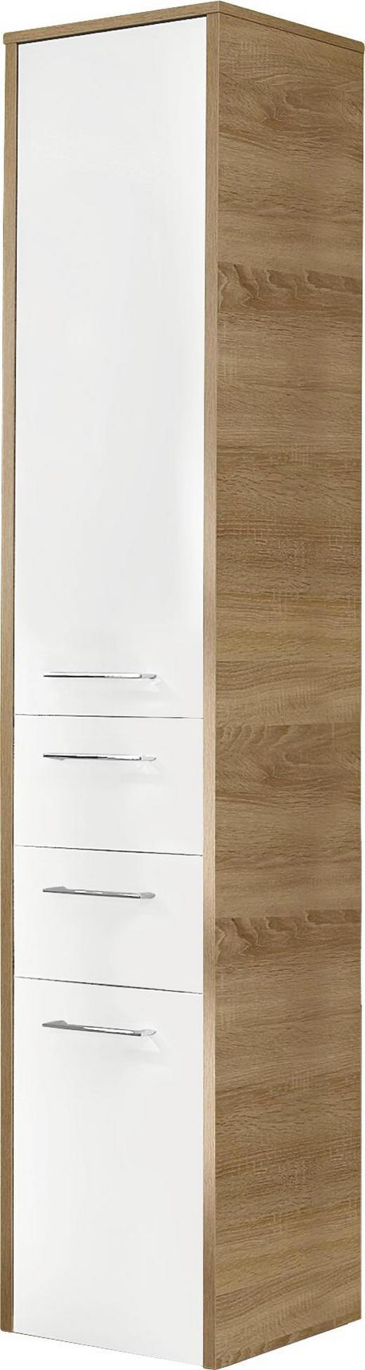 HOCHSCHRANK Weiß - Chromfarben/Eichefarben, Design, Glas/Holzwerkstoff (40,6/187/32,8cm) - XORA