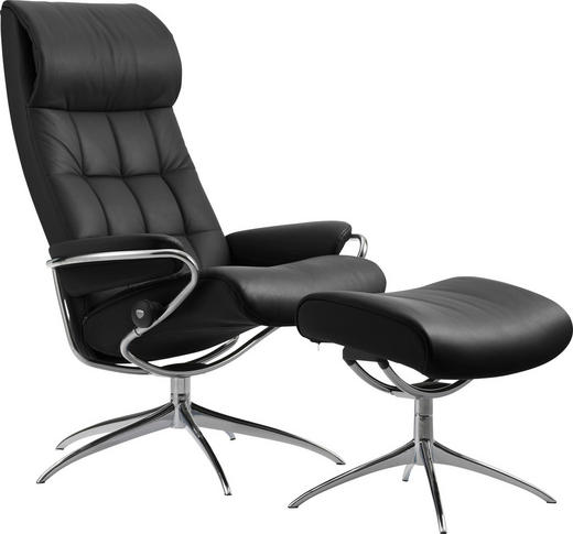 SESSELSET LONDON M Echtleder Hocker - Schwarz, Design, Leder/Metall (80/115/74cm) - Stressless