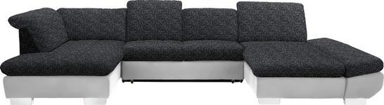 WOHNLANDSCHAFT in Textil Anthrazit, Weiß  - Chromfarben/Anthrazit, Design, Kunststoff/Textil (211/350/204cm) - Xora