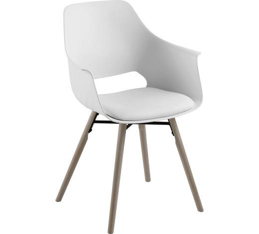 ARMLEHNSTUHL Weiß  - Schwarz/Weiß, Design, Holz/Kunststoff (57,0/85,0/52,5cm) - Carryhome