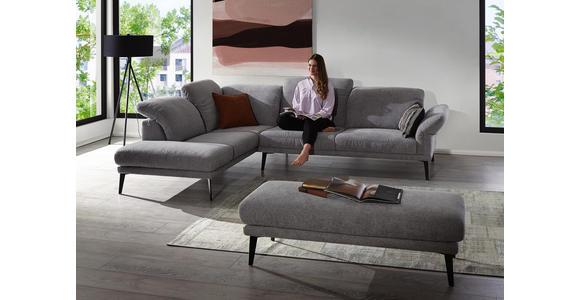 WOHNLANDSCHAFT in Textil Grau - Schwarz/Grau, Design, Textil/Metall (281/226cm) - Valnatura