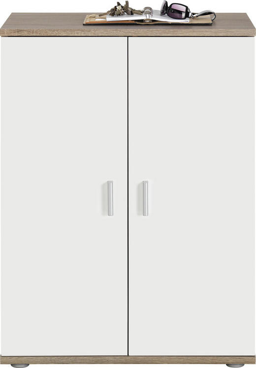 KOMODA, bela, hrast sonoma - bela/hrast sonoma, Design, umetna masa/leseni material (60/82/35cm) - BOXXX