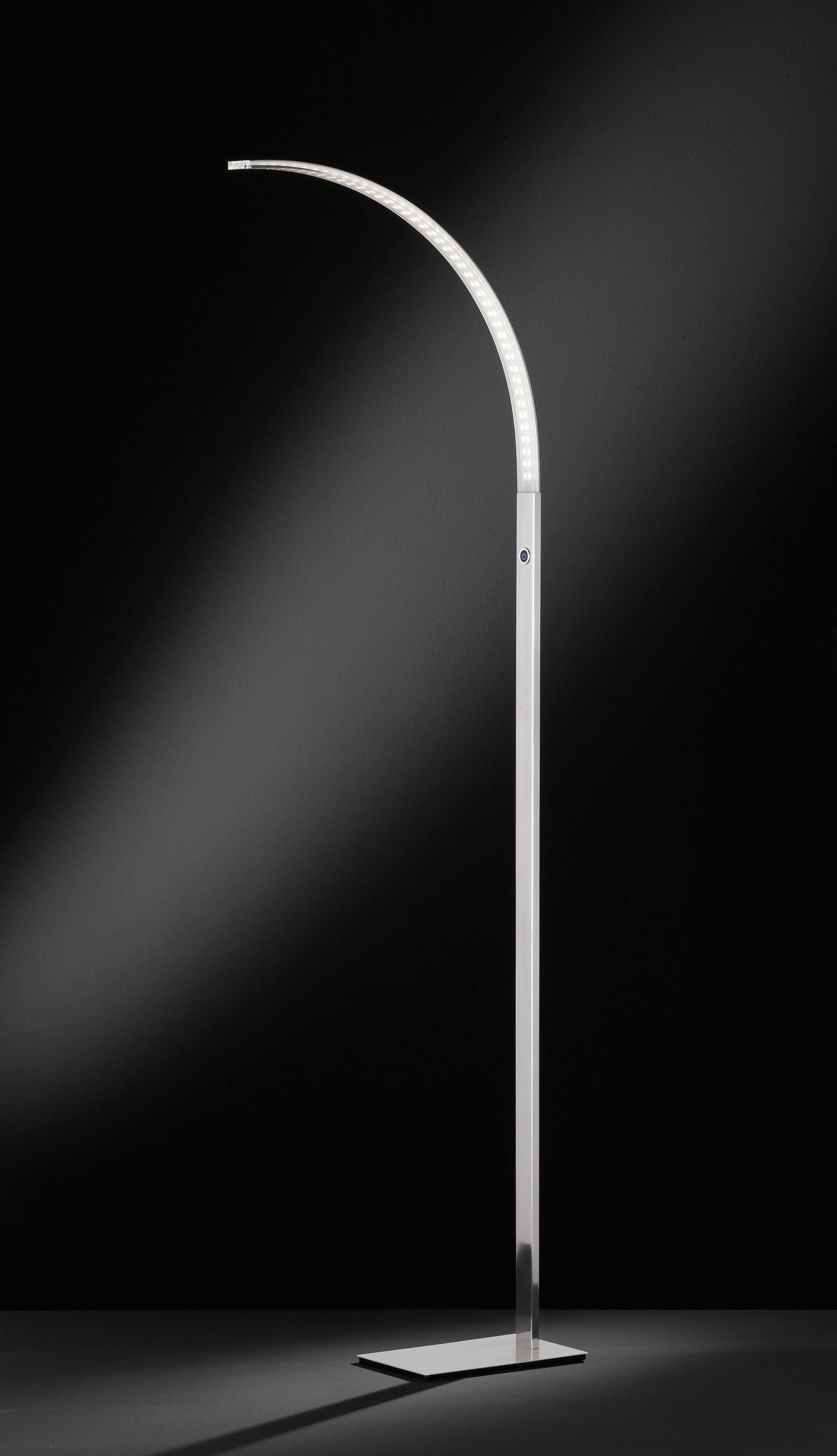 LED-STEHLEUCHTE - Nickelfarben, Design, Kunststoff/Metall (48/165/48cm)