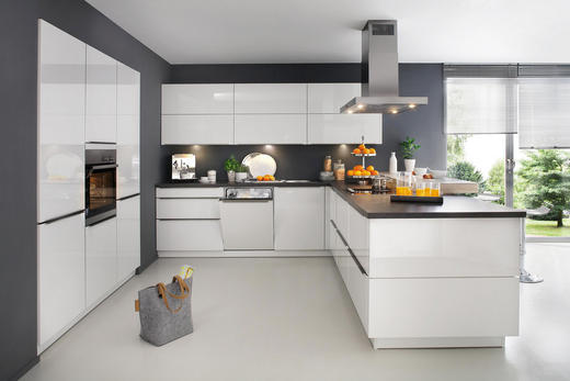 EINBAUKÜCHE - Weiß/Grau, Design - Eschebach