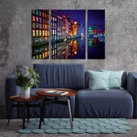 Nacht, Spiegelbilder, Städte GLASBILD - Multicolor, Basics, Glas (60/80/5cm) - EUROGRAPHICS