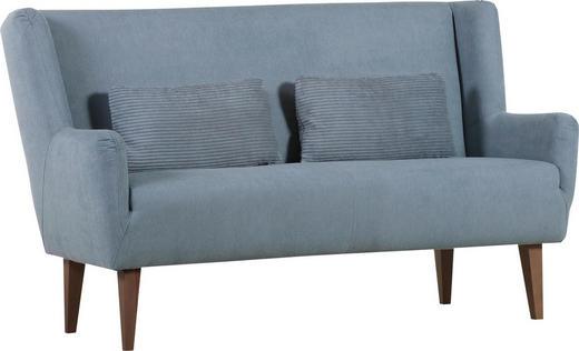 ZWEISITZER-SOFA Flachgewebe Grau, Hellgrau - Eichefarben/Hellgrau, Design, Holz/Textil (175/101/76cm) - Carryhome