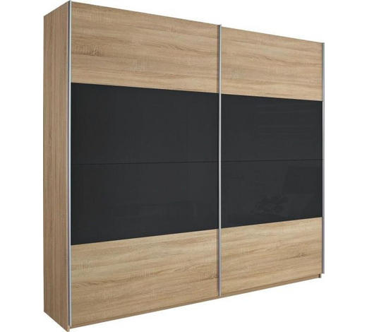 SCHWEBETÜRENSCHRANK in Eichefarben, Dunkelgrau - Eichefarben/Dunkelgrau, Design, Glas/Holzwerkstoff (226/210/62cm) - Xora