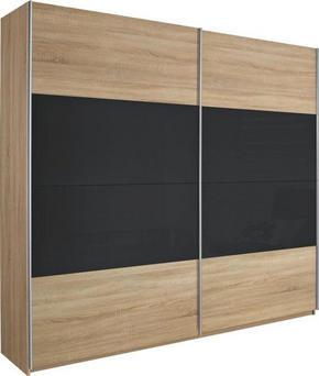SKJUTDÖRRSGARDEROB - mörkgrå/alufärgad, Design, metall/glas (226/210/62cm) - Xora