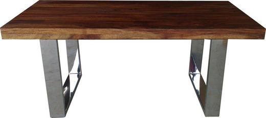 COUCHTISCH Sheesham massiv rechteckig Edelstahlfarben, Sheeshamfarben - Edelstahlfarben/Sheeshamfarben, Design, Holz/Metall (110/60/43cm) - Carryhome