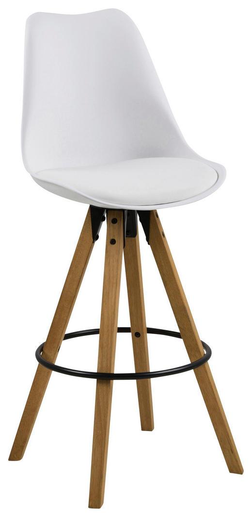 BARHOCKER Lederlook Eichefarben, Weiß - Eichefarben/Schwarz, Design, Holz/Kunststoff (48/112/56cm) - Carryhome