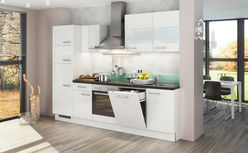 KÜCHENBLOCK E-Geräte, Spüle, Soft-Close-System   - Weiß, Design (280cm) - Stylife