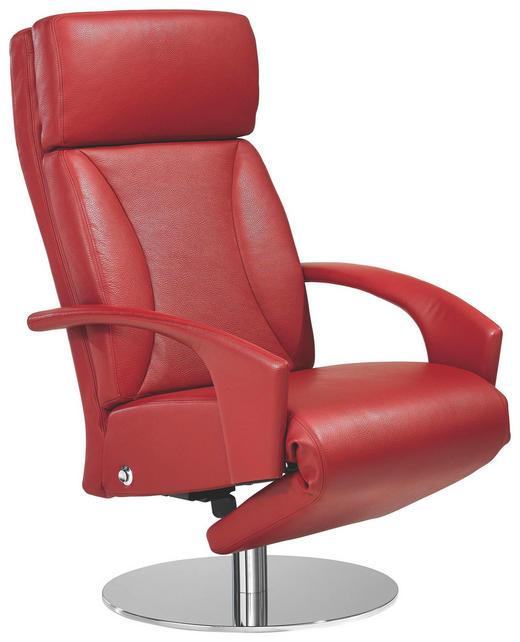 RELAXSESSEL Echtleder - Chromfarben/Rot, KONVENTIONELL, Leder/Metall (70/116/91-176cm) - Erpo