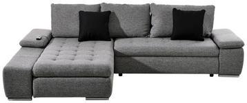 ECKSOFA Grau, Schwarz Webstoff - Chromfarben/Schwarz, Design, Kunststoff/Textil (200/300cm) - Hom`in