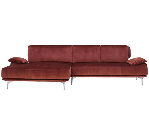 WOHNLANDSCHAFT in Textil Rostfarben - Chromfarben/Rostfarben, Design, Textil/Metall (165/303cm) - Chilliano