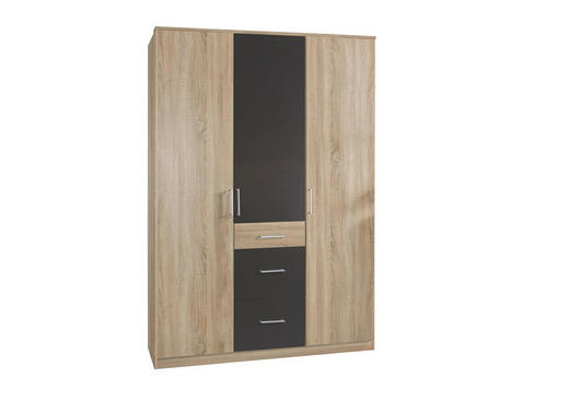 ORMAR S KLASIČNIM VRATIMA - boje hrasta/tamno siva, Design, drvni materijal/plastika (135/199/58cm) - Boxxx