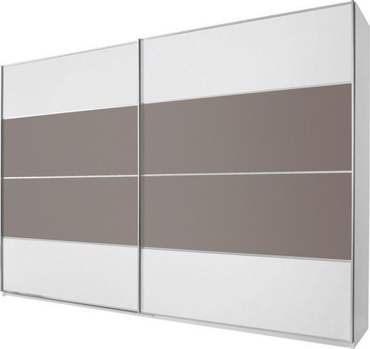 SCHWEBETÜRENSCHRANK 2  -türig Braun, Grau, Weiß - Alufarben/Braun, Design, Glas/Holzwerkstoff (316/236/69cm) - CANTUS