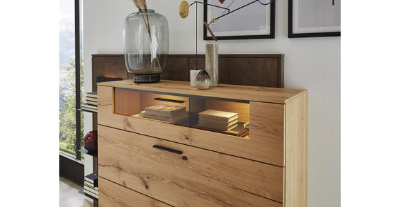 HIGHBOARD 197,1/105,6/46,9 cm  - Eichefarben/Rostfarben, Design, Glas/Holz (197,1/105,6/46,9cm) - Dieter Knoll