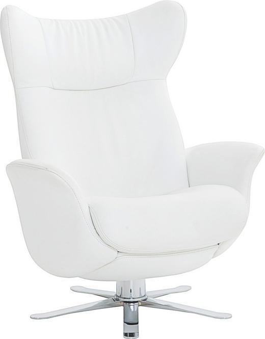 SESSEL Echtleder Weiß - Chromfarben/Weiß, Design, Leder/Metall (83/100/85cm) - JOOP!
