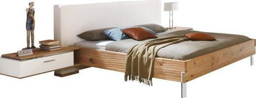 BETTANLAGE Eiche massiv 180/200 cm - Eichefarben/Weiß, Design, Glas/Holz (180/200cm) - Valdera