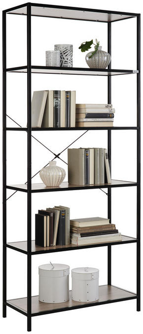 HYLLA - svart/ekfärgad, Trend, metall/träbaserade material (77/185/34cm) - Xora