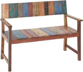 2-SITZER-BANK in Braun, Multicolor - Multicolor/Braun, Design, Holz (124/88/60cm) - AMBIA GARDEN