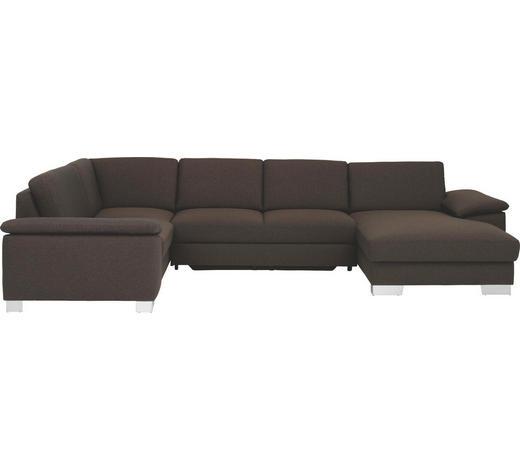 WOHNLANDSCHAFT in Textil Braun  - Chromfarben/Braun, Design, Textil/Metall (215/348/166cm)