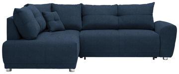 WOHNLANDSCHAFT in Textil Blau  - Blau/Silberfarben, KONVENTIONELL, Kunststoff/Textil (205/260cm) - Carryhome