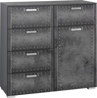 Kommode Industrial-Print-Optik Grau - Alufarben/Grau, Design, Kunststoff/Metall (110/106/42cm) - Carryhome