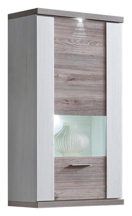 HÄNGEVITRINE Eichefarben, Weiß - Eichefarben/Alufarben, Design, Glas/Holzwerkstoff (65/131/42cm) - Xora