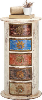 KOMMODE in massiv Mangoholz Multicolor, Weiß - Multicolor/Weiß, Trend, Holz/Holzwerkstoff (40/75/40cm) - Ambia Home
