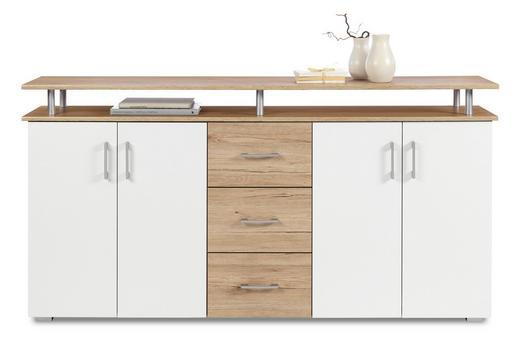 KOMMODE Eichefarben, Weiß - Eichefarben/Silberfarben, KONVENTIONELL, Holzwerkstoff/Kunststoff (180/90/40cm) - Carryhome