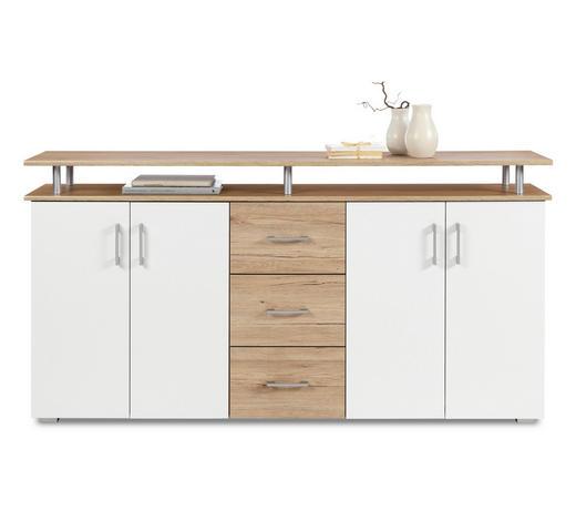 KOMODA, bílá, barvy dubu - bílá/barvy stříbra, Konvenční, kompozitní dřevo/umělá hmota (180/90/40cm)