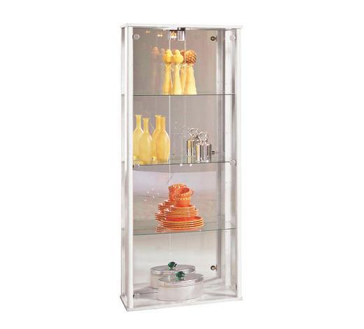 VITRINE Weiß  - Alufarben/Schwarz, Design, Glas/Kunststoff (67,5/171/36cm) - Carryhome
