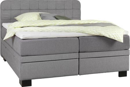 KONTINENTALSÄNG - ljusgrå/svart, Klassisk, trä/textil (180/200cm) - Elegando