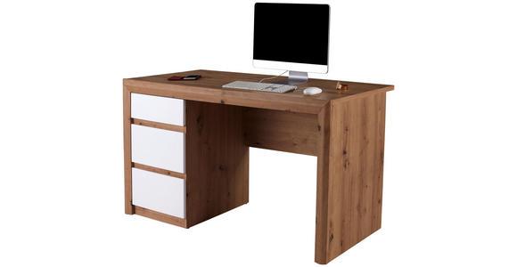 Schreibtisch Kashmir New Kab01 - Eichefarben/Weiß, MODERN, Holzwerkstoff (152/78/60cm) - James Wood