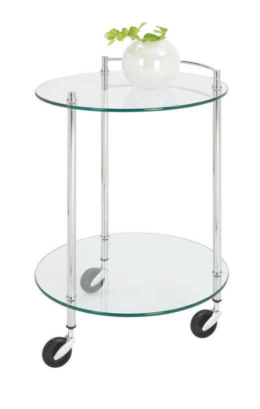 SERVIERWAGEN Glas, Metall Chromfarben - Chromfarben, Design, Glas/Kunststoff (45/63cm)