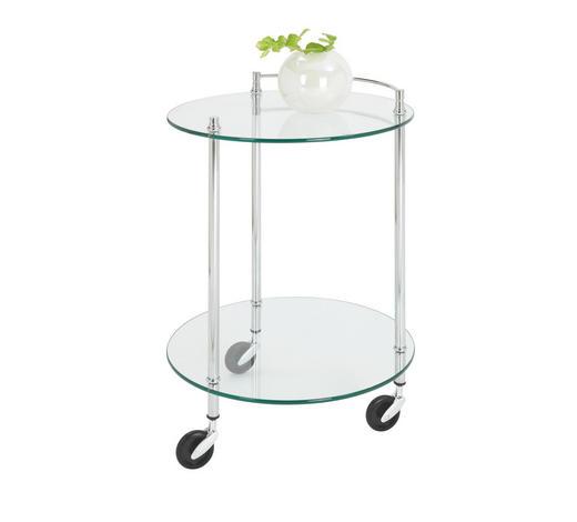 SERVIERWAGEN Metall, Glas Chromfarben - Chromfarben, Design, Glas/Kunststoff (45/63cm)