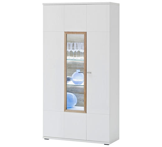 VITRINE  in Weiß, Eichefarben - Eichefarben/Weiß, Design, Glas/Holzwerkstoff (90/174/37cm) - Novel