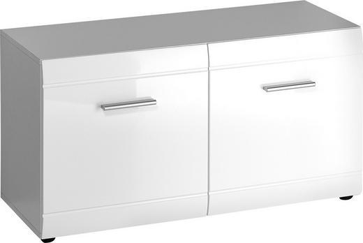 GARDEROBENBANK Weiß - Silberfarben/Schwarz, Design, Kunststoff (96/52/40cm) - Carryhome