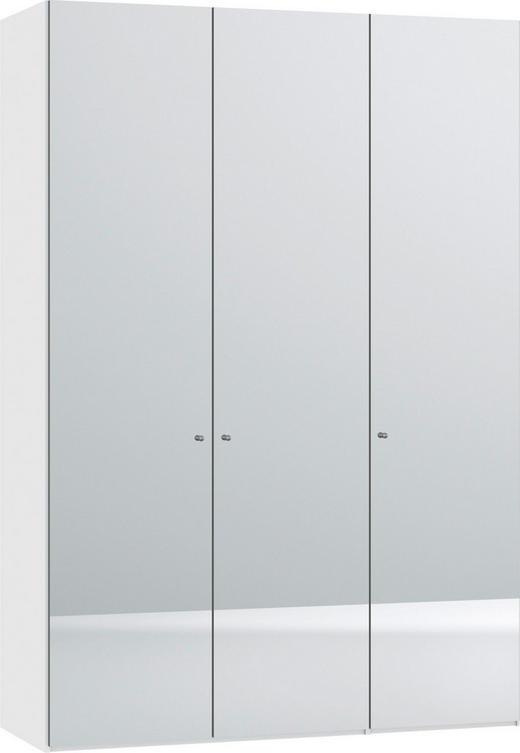 DREHTÜRENSCHRANK 3-türig Weiß - Silberfarben/Weiß, Design, Glas/Metall (152,2/220/37,5cm) - Jutzler