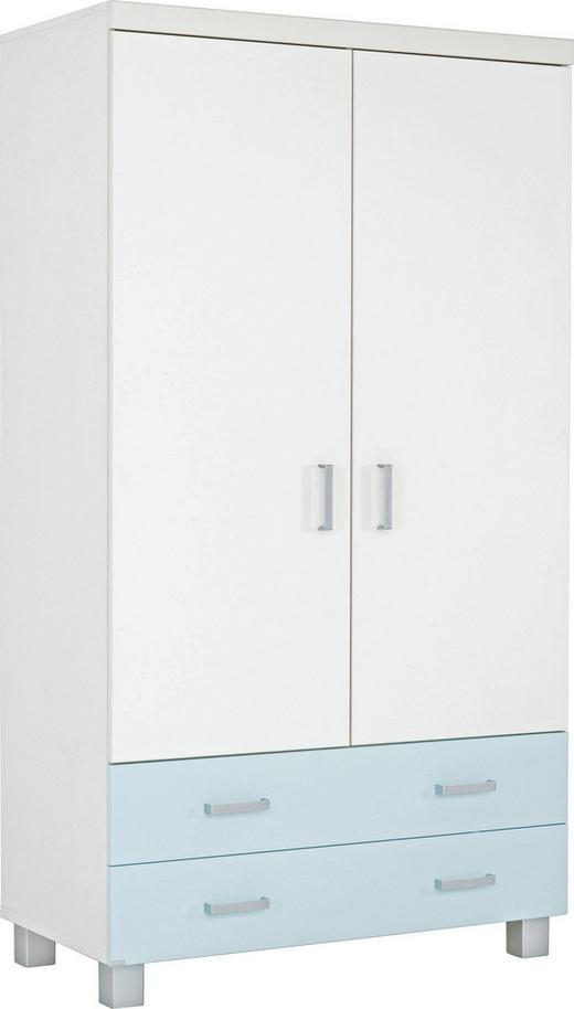 KLEIDERSCHRANK 2-türig Hellblau, Weiß - Silberfarben/Weiß, KONVENTIONELL, Holzwerkstoff/Kunststoff (109.9/199.2/56.6cm) - Paidi