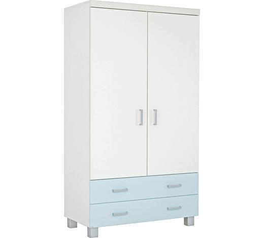 KLEIDERSCHRANK in Weiß, Hellblau - Silberfarben/Weiß, KONVENTIONELL, Holzwerkstoff/Kunststoff (109.9/199.2/56.6cm) - Paidi