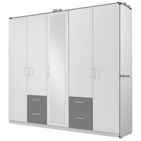 KLEIDERSCHRANK in Eichefarben, Weiß - Eichefarben/Silberfarben, Design, Glas/Holzwerkstoff (225/210/58cm) - Carryhome