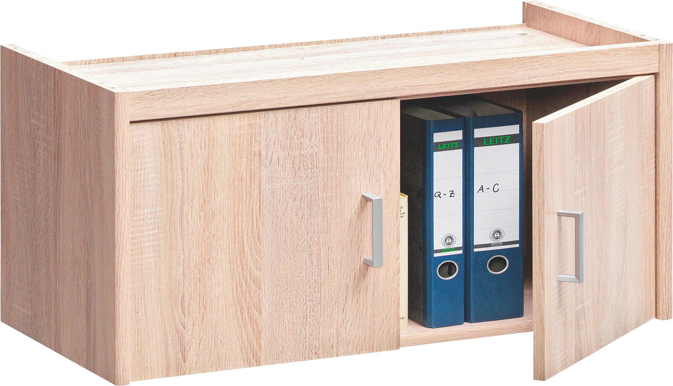 AUFSATZSCHRANK - Eichefarben/Silberfarben, KONVENTIONELL, Holzwerkstoff/Kunststoff (106/43/54cm) - CS SCHMAL